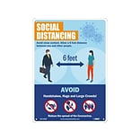 National Marker Wall Sign, Social Distancing, Plastic, 14 x 10, Blue/Orange (M0150RB)