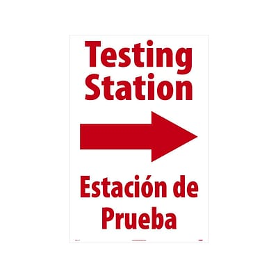 National Marker A-Frame Sign, Testing Station Right, 36 x 24, White/Red (SFS111C)