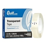 Quill Brand® Transparent Tape, Glossy Finish, 1/2 x 36 yds., Single Roll (70016043807)