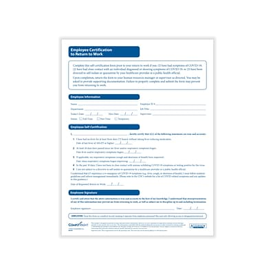 ComplyRight Employee Certification to Return to Work Medical Records Forms, 50/Pack (A0107PK50)