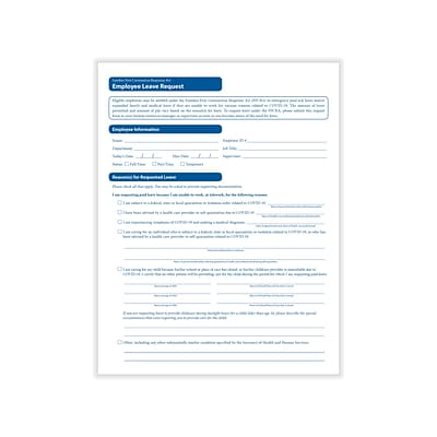 ComplyRight FFCRA Leave Request Medical Records Forms, 50/Pack (A0105PK50)