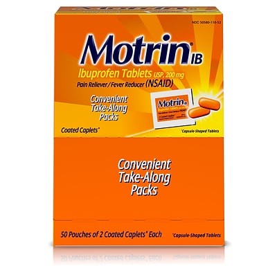 Motrin IB, Ibuprofen 200mg Tablets for Pain & Fever, 2-Count/Box, 50/Boxes (447419)