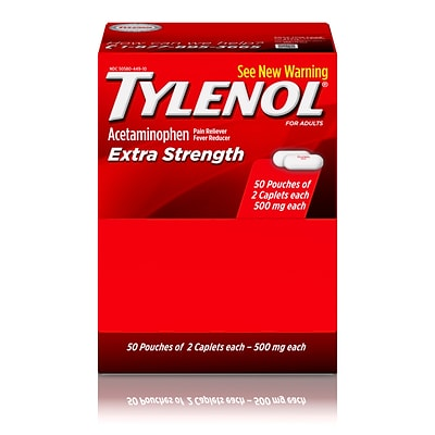 Tylenol Extra Strength Caplets with Acetaminophen, 2-Count/Box, 50/Boxes (487348)