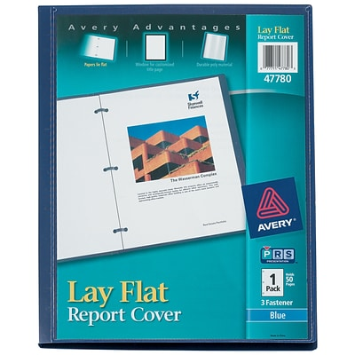 Avery Lay Flat 3-Prong Report Cover, Blue (47780)
