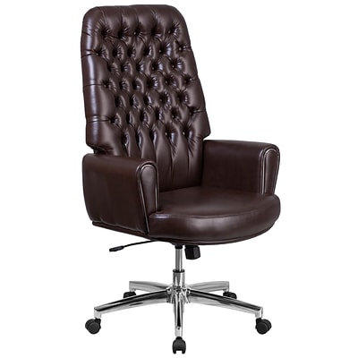 Flash Furniture High Back Traditional Tufted Leather Executive Swivel Chair with Arms (BT444BN)