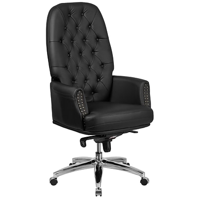 Flash Furniture High Back Traditional Tufted Leather Multifunction Executive Swivel Chair with Arms (BT90269HBK)
