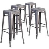 Flash Furniture 30 High Backless Metal Indoor Barstool with Square Seat 4/ Pack (4XUDGTP000430)