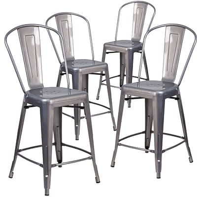 Flash Furniture 24 High Indoor Counter Height Stool with Back 4/ Pack (4XUDGTP001B24)