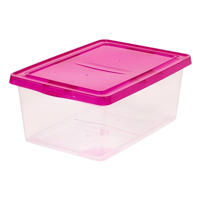 IRIS® 17 Quart Clear Storage Box with Magenta Lid, 12 Pack