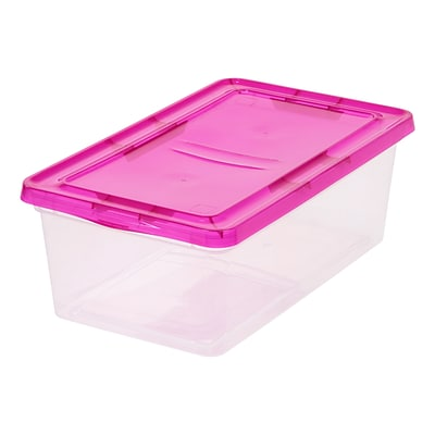 IRIS® 6 Quart Clear Storage Box withMagenta Lid, 6 Pack