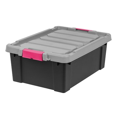 IRIS® Store-It-All Tote 10 Gallon, 2 Pack, Black with Pink buckles