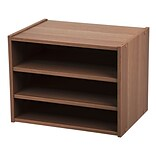 IRIS® Modular Wood Storage Organizer Cube Box w/ Adjustable Shelves, Dark Brown