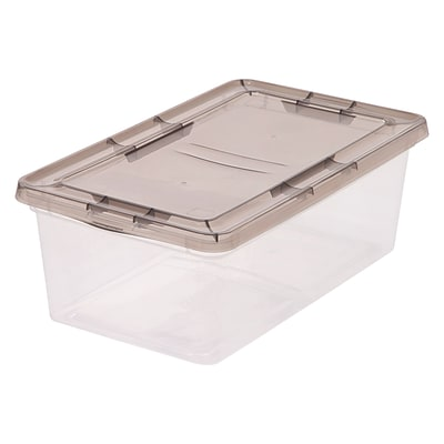 IRIS® 6 Quart Clear Storage Box with Gray Lid, 12 Pack