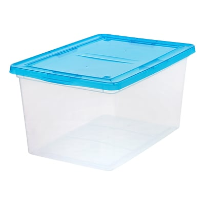 IRIS® 58 Quart Clear Storage Box with Teal Lid, 6 Pack