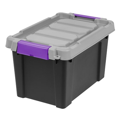 IRIS® Store-It-All Tote 5 Gallon, 4 Pack, Black with Purple buckles