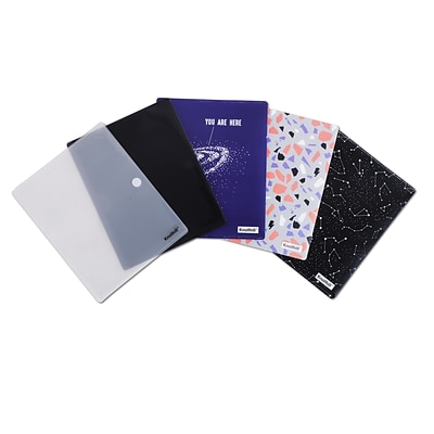 Face Mask Holder, 2-Pocket Pouch, Assorted Designs, 5/Pack (DHPF008)