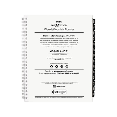 2021 AT-A-GLANCE 6.88 x 8.75 Refill, DayMinder, White (G5455021)