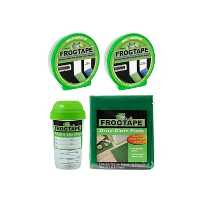 FrogTape 1.41 x 60 yds. 2 Multi-Surface Painter Tapes with Touch Up Storage Cup and 3 Drop Cloths, Green (FROGPACKG-STP)