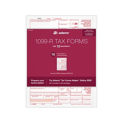 Adams 2020 1099-R Tax Forms, 6-Part, 10/Pack (STAX520R)