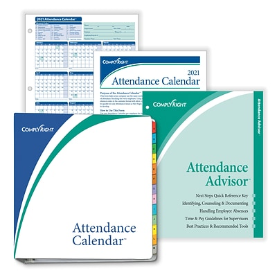 ComplyRight 2021 Attendance Calendar Kit, White, Pack of 100 (A1411W16PK100)