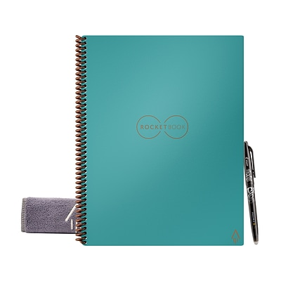 Rocketbook Fusion Smart Notebook, 8.5 x 11, 7 Page Styles, 21 Sheets, Teal (EVRF-L-RC-CCE-FR)