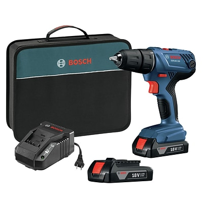 Bosch GSR18V-190B22 18V 1/2 in. Compact Drill/Driver Kit with 1.5 Ah SlimPack Batteries