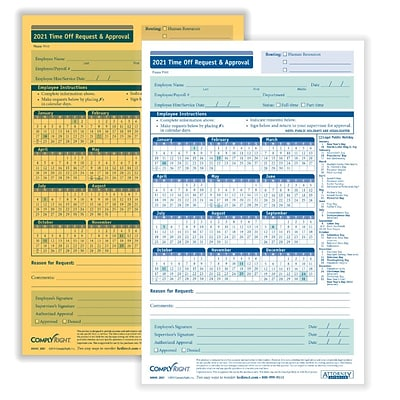 ComplyRight 2021 2-Part Time Off Request and Approval Form, Pack of 50 (A0045)