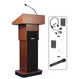 AmpliVox® Wireless Executive Adjustable Height Sound Column Lectern; Mahogany